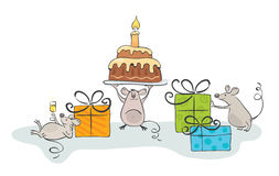 Mouse celebrate. Illustration - Happy Mouse came to visit with gifts vector illustration