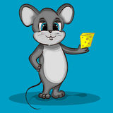 Mouse Character with Cheese Stock Photography