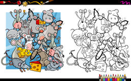 Mouse characters coloring book Royalty Free Stock Image