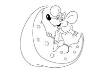 Mouse on cheese Stock Images