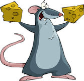 Mouse with cheese Stock Images
