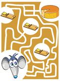 Mouse and cheese. Maze game for kids: Help the mouse find the cheese without getting caught in the traps Stock Photo