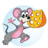 Mouse with cheese. Mouse comes with cheese in his hand and smiling Stock Image
