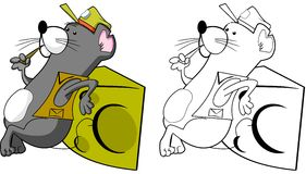 Mouse with Cheese. Cartoon illustration of a mouse leaning against a block of Swiss cheese Royalty Free Stock Photos