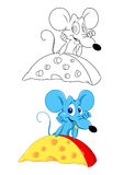Mouse and cheese cartoon Royalty Free Stock Images