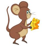 Mouse with cheese cartoon. Mouse bring and eat a delicious cheese cartoon vector illustration