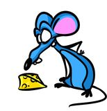 Mouse cheese cartoon illustration Royalty Free Stock Photos