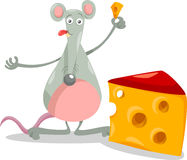 Mouse with cheese cartoon illustration Royalty Free Stock Images