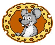 Mouse with cheese frame Royalty Free Stock Photo