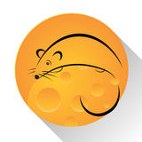 Mouse, Cheese Icon Stock Images