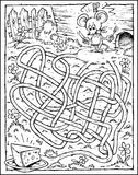 Mouse & Cheese Labyrinth - Black & White. Cartoon Maze with Mouse & Cheese. Labyrinth-game for kids or coloring page Royalty Free Stock Photography