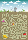Mouse and Cheese Maze Game. For children. Hand drawn illustration in eps10  mode. Task: find the way to cheese. Solution is in hidden layer Royalty Free Stock Image