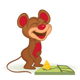 Mouse and cheese in mousetrap. Vector illustration Stock Photography