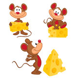 Mouse and cheese in a variety of actions. Vector illustration Stock Photo