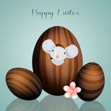 Mouse in chocolate Easter egg Stock Photography