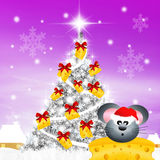 Mouse at Christmas Stock Image
