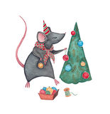 A mouse with Christmas Tree. Hand drawn watercolor illustration of a mouse decorating a Christmas Tree Royalty Free Stock Photography