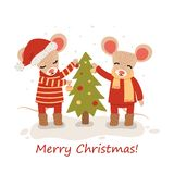 Mouse with christmas trees. Christmas and New Year character isolated on a white background. Postcard. Vector royalty free stock photo