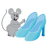 Mouse and Cinderella's shoes 2 Royalty Free Stock Images