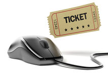 Mouse and cinema ticket Stock Photo