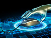 Mouse click. Android hand grabbing a mouse in cyberspace. Digital illustration Stock Photos