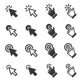 Mouse Click Cursor Arrow and Hand Icons Set. Vector. Illustration royalty free illustration