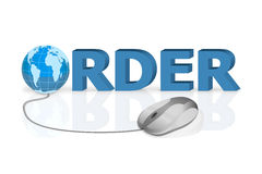 Mouse click to order online shopping Stock Photography