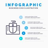 Mouse, Computer, Hardware, Education Blue Infographics Template 5 Steps. Vector Line Icon template vector illustration