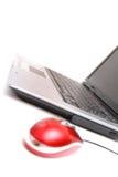 Mouse con computer personale e rosso Immagine Stock