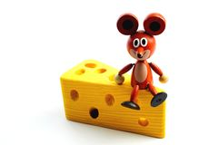 Mouse con formaggio Fotografia Stock