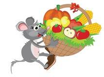Mouse con il grande cestino Fotografie Stock