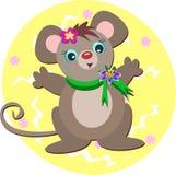 Mouse con la sciarpa verde Immagine Stock