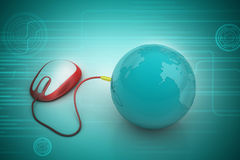 Mouse connect with earth Royalty Free Stock Image