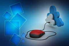 Mouse connected with cloud Royalty Free Stock Image