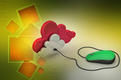 Mouse connected with cloud Royalty Free Stock Photos