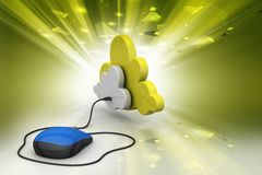 Mouse connected with cloud Stock Photo
