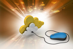 Mouse connected with cloud Stock Images