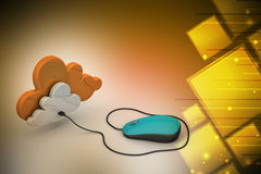 Mouse connected with cloud Stock Photography