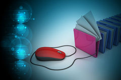 Mouse connected with computer file folder Royalty Free Stock Photos