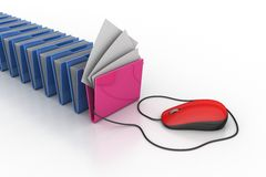 Mouse connected with computer file folder Stock Images