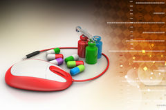 Mouse connected with medicines stock illustration