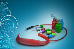 Mouse connected with medicines Royalty Free Stock Image