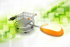 Mouse connected with shopping trolley Royalty Free Stock Images