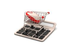 Mouse connected with shopping trolley Royalty Free Stock Photo