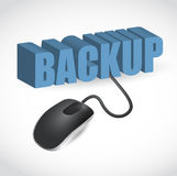 Mouse is connected to the blue word BACKUP. Computer mouse is connected to the blue word BACKUP illustration stock illustration