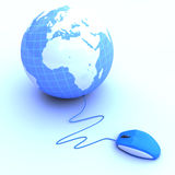 Mouse connected to a globe Stock Photography