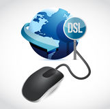 Mouse connected to a grey globe with a DSL sign. Royalty Free Stock Photos