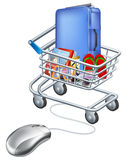 Mouse connected to holiday shopping cart. Illustration of a computer mouse connected to a trolley full of vacation items Stock Photo