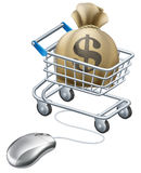 Mouse connected to trolley full of money. In a big sack with a dollar symbol on it. Perhaps a concept for rewards for shopping on line like cashback sites Royalty Free Stock Photography