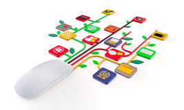 Mouse connected with web icons Stock Photography